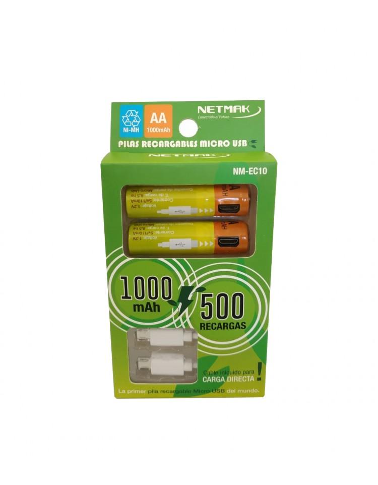 PILAS AA NETMAK 1000 MAH X2 RECARGABLES USB