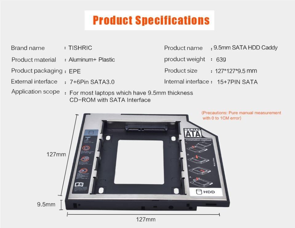 ADAPTADOR P/OPTICO NOTEBOOK SLIM SSD CADY