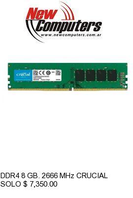 DDR4 8 GB. 2666 MHz CRUCIAL: