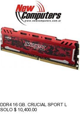DDR4 16 GB. CRUCIAL SPORT LT 2400 WHITE: