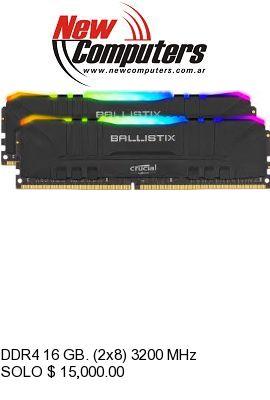 DDR4 16 GB. (2x8) 3200 MHz RGB BALLISTIX: