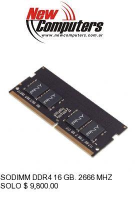 SODIMM DDR4 16 GB. 2666 MHZ PNY: