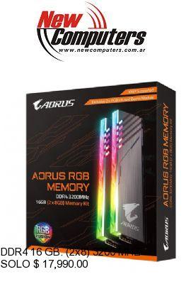 DDR4 16 GB. (2x8) 3200 MHZ RGB GIGABYTE AORUS: