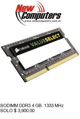 SODIMM DDR3 4 GB. 1333 MHz CORSAIR: