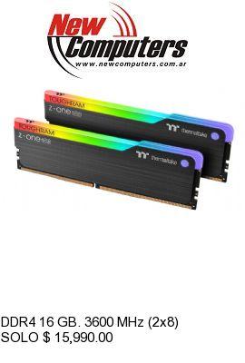 DDR4 16 GB. 3600 MHz (2x8) RGB THERMALTAKE TOUGHRAM Z-ONE: