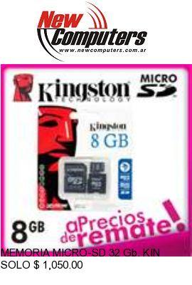 MEMORIA MICRO-SD 32 Gb. KINGSTON CLASE 10 (MINI / MICRO / SD):