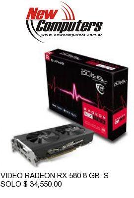 VIDEO RADEON RX 580 8 GB. SAPPHIRE PULSE: