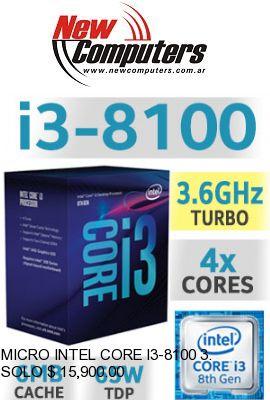MICRO INTEL CORE I3-8100 3.6 GHz S.1151:
