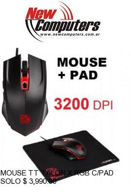 MOUSE TT TALON X RGB C/PAD BLACK 3200 DPI: