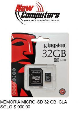 MEMORIA MICRO-SD 32 GB. CLASS 10 KINGSTON: