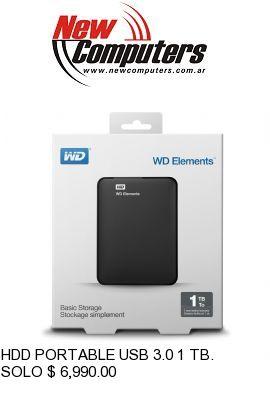 HDD PORTABLE USB 3.0 1 TB. WD: