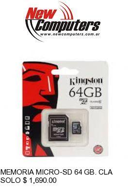 MEMORIA MICRO-SD 64 GB. CLASS 10 KINGSTON: